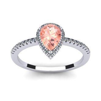3/4 Carat Pear Shape Morganite and Halo Diamond Ring In 14 Karat White Gold