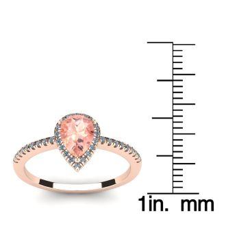 3/4 Carat Pear Shape Morganite and Halo Diamond Ring In 14 Karat Rose Gold