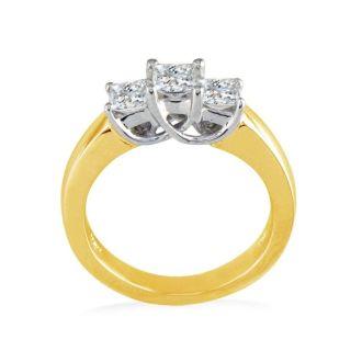 CLOSEOUT 3/4ct Princess Three Diamond Ring, 14K Yellow Gold