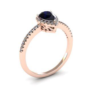 1 Carat Pear Shape Sapphire and Halo Diamond Ring In 14 Karat Rose Gold
