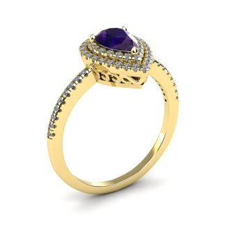 1 Carat Pear Shape Amethyst and Double Halo Diamond Ring In 14 Karat Yellow Gold
