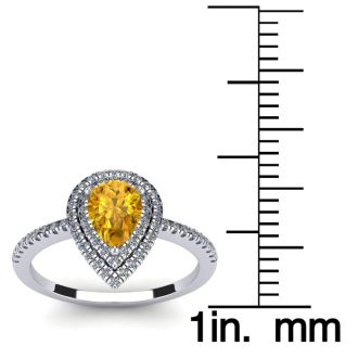 1 Carat Pear Shape Citrine and Double Halo Diamond Ring In 14 Karat White Gold