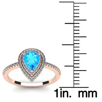 1 1/5 Carat Pear Shape Blue Topaz and Double Halo Diamond Ring In 14 Karat Rose Gold