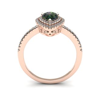 1 1/5 Carat Pear Shape Mystic Topaz and Double Halo Diamond Ring In 14 Karat Rose Gold