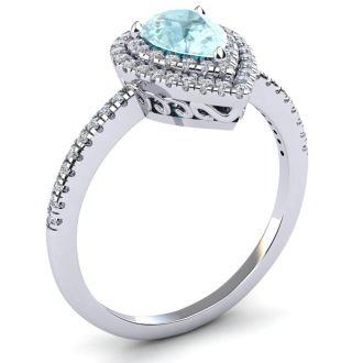 1 Carat Pear Shape Aquamarine and Double Halo Diamond Ring In 14 Karat White Gold