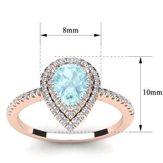 1 Carat Pear Shape Aquamarine and Double Halo Diamond Ring In 14 Karat Rose Gold