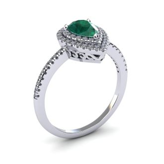 1 Carat Pear Shape Emerald and Double Halo Diamond Ring In 14 Karat White Gold