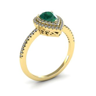 1 Carat Pear Shape Emerald and Double Halo Diamond Ring In 14 Karat Yellow Gold