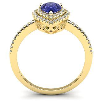 1 Carat Pear Shape Tanzanite and Double Halo Diamond Ring In 14 Karat Yellow Gold