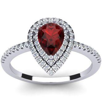 1 1/5 Carat Pear Shape Garnet and Double Halo Diamond Ring In 14 Karat White Gold