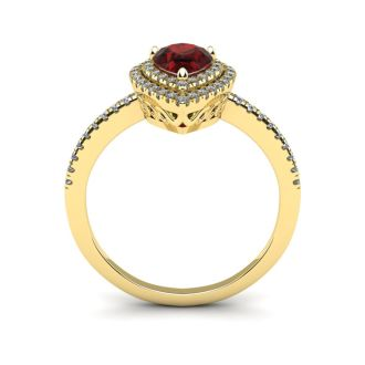 1 1/5 Carat Pear Shape Garnet and Double Halo Diamond Ring In 14 Karat Yellow Gold