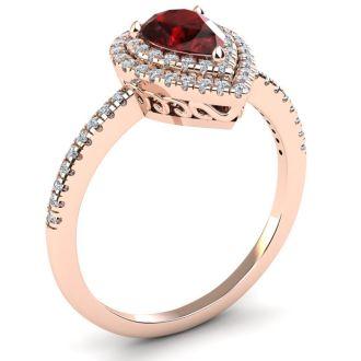 1 1/5 Carat Pear Shape Garnet and Double Halo Diamond Ring In 14 Karat Rose Gold