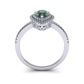 1 Carat Pear Shape Green Amethyst and Double Halo Diamond Ring In 14 Karat White Gold