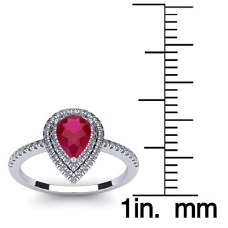 1 Carat Pear Shape Ruby and Double Halo Diamond Ring In 14 Karat White Gold