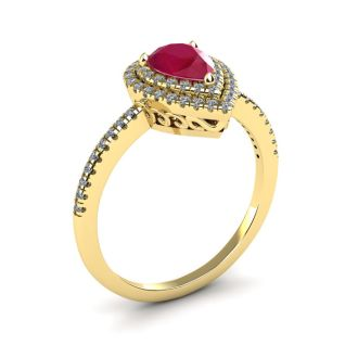 1 Carat Pear Shape Ruby and Double Halo Diamond Ring In 14 Karat Yellow Gold