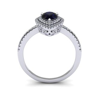 1 Carat Pear Shape Sapphire and Double Halo Diamond Ring In 14 Karat White Gold