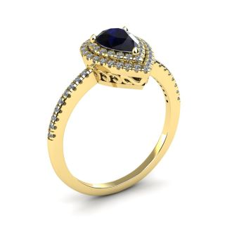 1 Carat Pear Shape Sapphire and Double Halo Diamond Ring In 14 Karat Yellow Gold