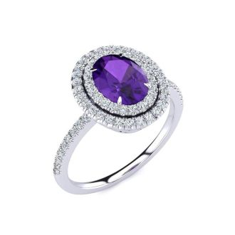 1 1/2 Carat Oval Shape Amethyst and Double Halo Diamond Ring In 14 Karat White Gold