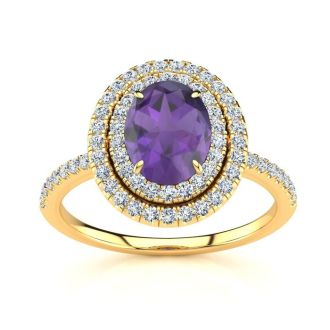1 1/2 Carat Oval Shape Amethyst and Double Halo Diamond Ring In 14 Karat Yellow Gold