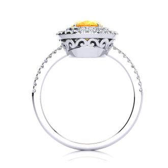 1 1/2 Carat Oval Shape Citrine and Double Halo Diamond Ring In 14 Karat White Gold