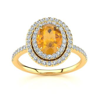 1 1/2 Carat Oval Shape Citrine and Double Halo Diamond Ring In 14 Karat Yellow Gold