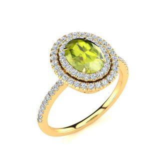 1 3/4 Carat Oval Shape Peridot and Double Halo Diamond Ring In 14 Karat Yellow Gold