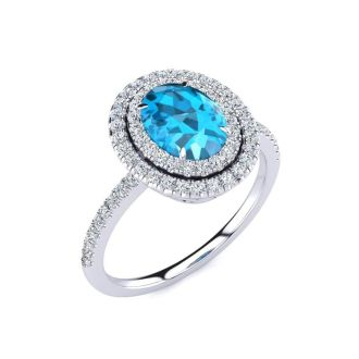 1 3/4 Carat Oval Shape Blue Topaz and Double Halo Diamond Ring In 14 Karat White Gold
