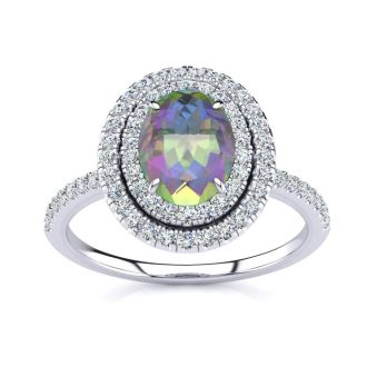 1 3/4 Carat Oval Shape Mystic Topaz and Double Halo Diamond Ring In 14 Karat White Gold