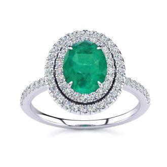 1 1/2 Carat Oval Shape Emerald and Double Halo Diamond Ring In 14 Karat White Gold