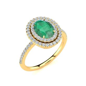 1 1/2 Carat Oval Shape Emerald and Double Halo Diamond Ring In 14 Karat Yellow Gold