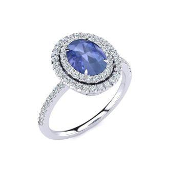 1 1/2 Carat Oval Shape Tanzanite and Double Halo Diamond Ring In 14 Karat White Gold