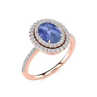 1 1/2 Carat Oval Shape Tanzanite and Double Halo Diamond Ring In 14 Karat Rose Gold