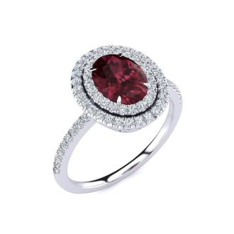 1 3/4 Carat Oval Shape Garnet and Double Halo Diamond Ring In 14 Karat White Gold