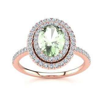 1 1/2 Carat Oval Shape Green Amethyst and Double Halo Diamond Ring In 14 Karat Rose Gold