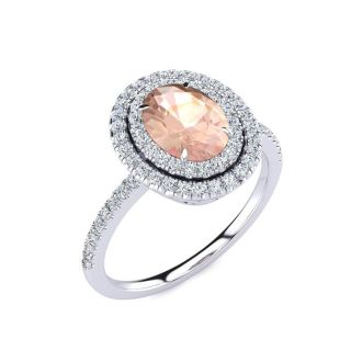 1 1/2 Carat Oval Shape Morganite and Double Halo Diamond Ring In 14 Karat White Gold