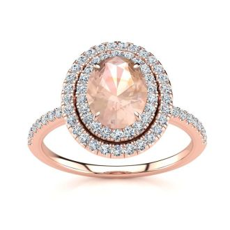 1 1/2 Carat Oval Shape Morganite and Double Halo Diamond Ring In 14 Karat Rose Gold