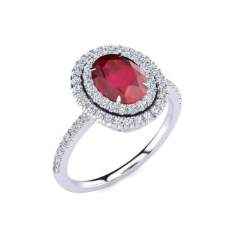 2 Carat Oval Shape Ruby and Double Halo Diamond Ring In 14 Karat White Gold