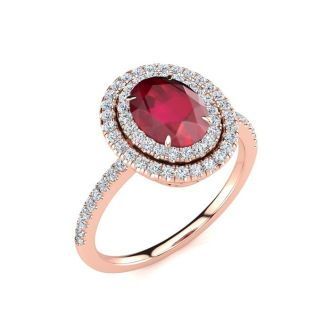 2 Carat Oval Shape Ruby and Double Halo Diamond Ring In 14 Karat Rose Gold