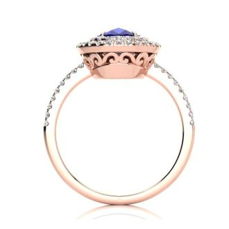 2 Carat Oval Shape Sapphire and Double Halo Diamond Ring In 14 Karat Rose Gold