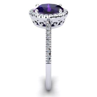 1 1/4 Carat Oval Shape Amethyst and Halo Diamond Ring In 14 Karat White Gold
