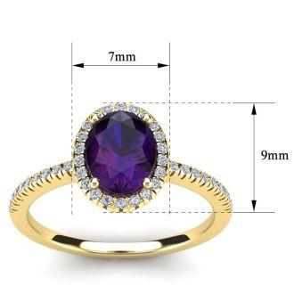 1 1/4 Carat Oval Shape Amethyst and Halo Diamond Ring In 14 Karat Yellow Gold