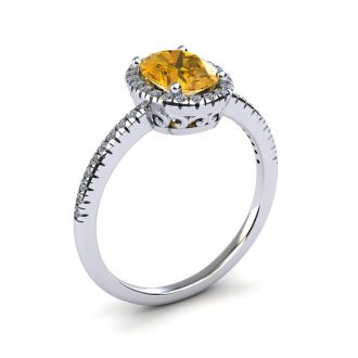 1 1/4 Carat Oval Shape Citrine and Halo Diamond Ring In 14 Karat White Gold