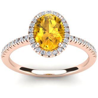 1 1/4 Carat Oval Shape Citrine and Halo Diamond Ring In 14 Karat Rose Gold