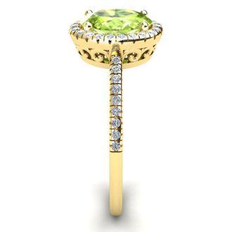 1 1/2 Carat Oval Shape Peridot and Halo Diamond Ring In 14 Karat Yellow Gold