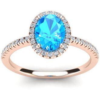 1 3/4 Carat Oval Shape Blue Topaz and Halo Diamond Ring In 14 Karat Rose Gold