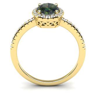 1 3/4 Carat Oval Shape Mystic Topaz and Halo Diamond Ring In 14 Karat Yellow Gold