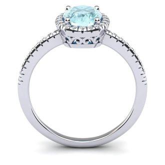 1 1/3 Carat Oval Shape Aquamarine and Halo Diamond Ring In 14 Karat White Gold