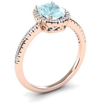 1 1/3 Carat Oval Shape Aquamarine and Halo Diamond Ring In 14 Karat Rose Gold