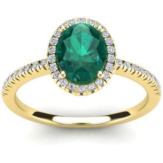 1 1/3 Carat Oval Shape Emerald and Halo Diamond Ring In 14 Karat Yellow Gold