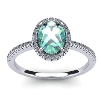 1 1/4 Carat Oval Shape Green Amethyst and Halo Diamond Ring In 14 Karat White Gold